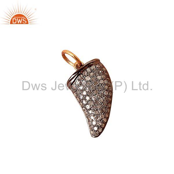 Exporter Pave Diamond Sterling Silver Tooth Charm Pendant 14 K Gold Vintage Look Jewelry