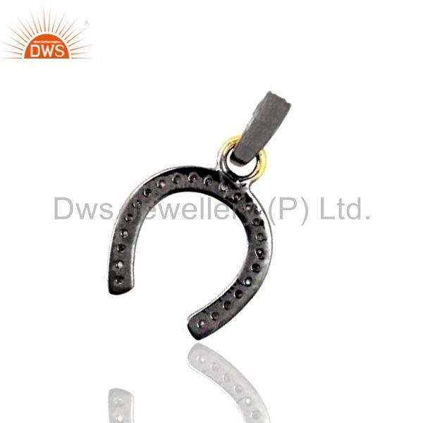 Exporter 14K Gold Horse Shoe Pendant Solid Sterling Silver Diamond Pave WONDERING Jewelry
