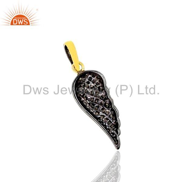 Exporter Diamond Pave Sterling Silver ANGEL WING Charm Pendant 14k Gold WONDERING Jewelry
