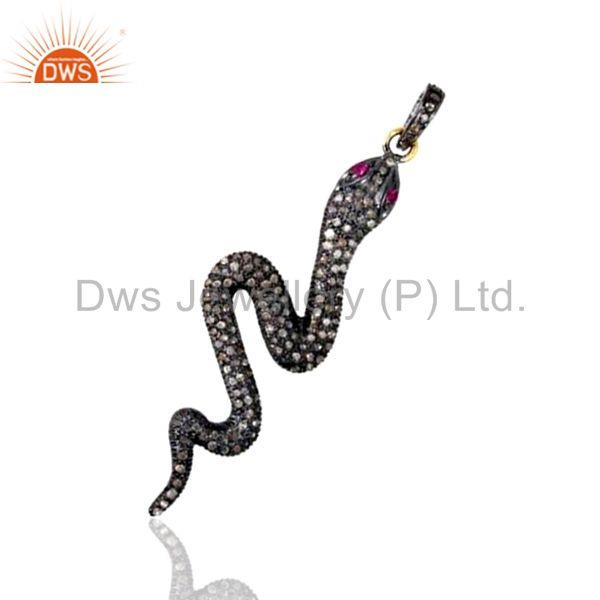 Exporter 1.12Ct Diamond Pave 14K Gold WONDERING 925 Sterling Silver Snake Pendant Jewelry