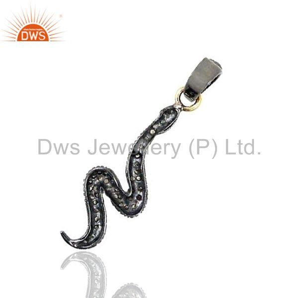 Exporter 925 Sterling Silver Snake Pendant Pave Rose Cut Diamond 14k Gold Jewelry BY