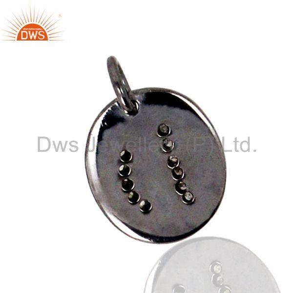 Exporter D Alphabet Initial Letter 925 Sterling Silver Charm Pendant Pave Diamond Jewelry