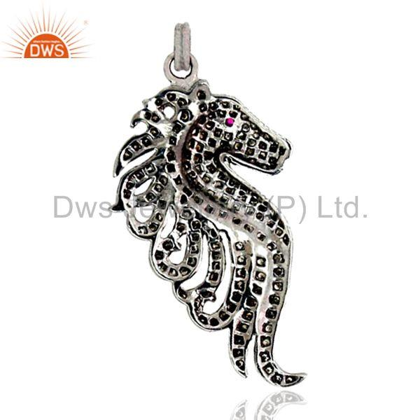 Pave natural diamond sea horse pendant 925 sterling silver vintage style jewelry