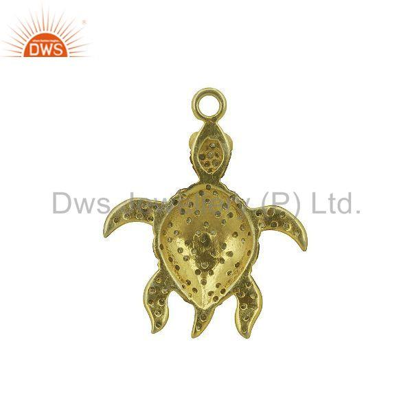 Ruby gemstone natural diamond pave turtle charm pendant sterling silver jewelry
