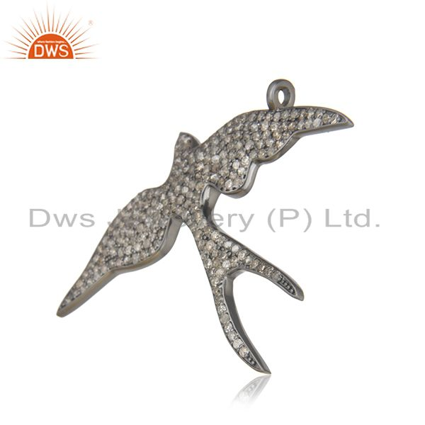 Swifts bird design 925 sterling silver & 2.38 ct pave diamonds charm pendant