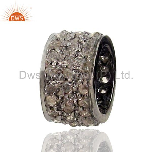925 sterling silver spacer natural diamond pave spacer finding jewelry