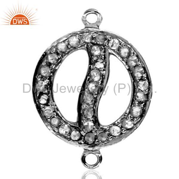 925 sterling silver connector finding 0.37 ct genuine pave diamond estate style