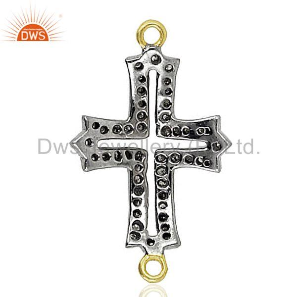 Pave diamond cross connector 925 sterling silver fine wondering jewelry finding