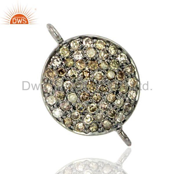 925 sterling silver diamond pave bracelet connector link finding jewelry 13x2 mm