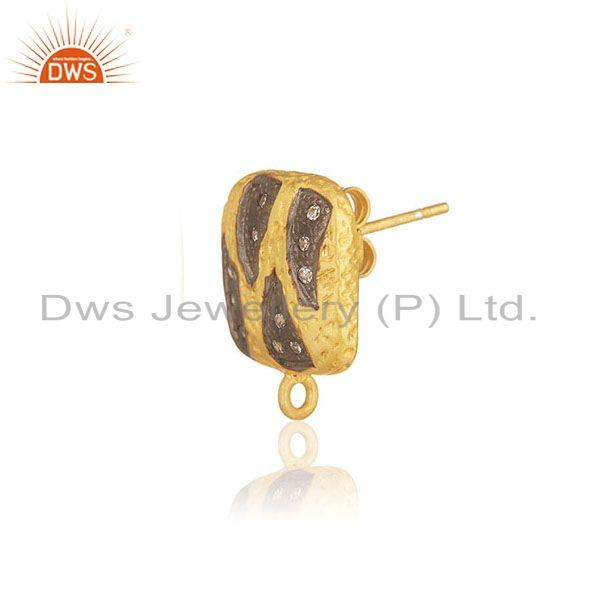 Gold plated brass white zircon stud earrings jewelry findings manufacturers