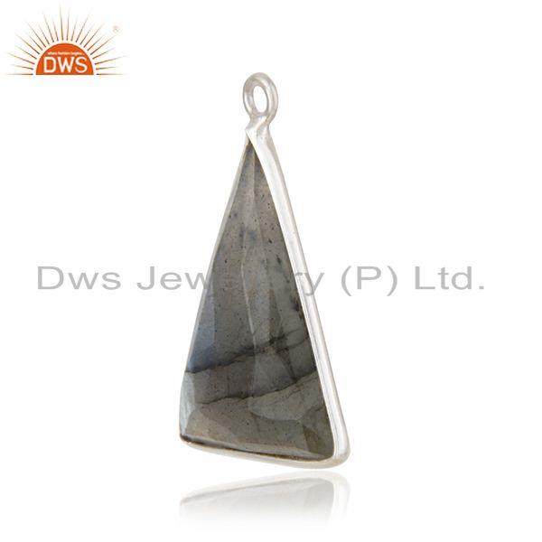 Exporter of Labradorite gemstone 925 sterling fine silver triangle charm findings suppliers