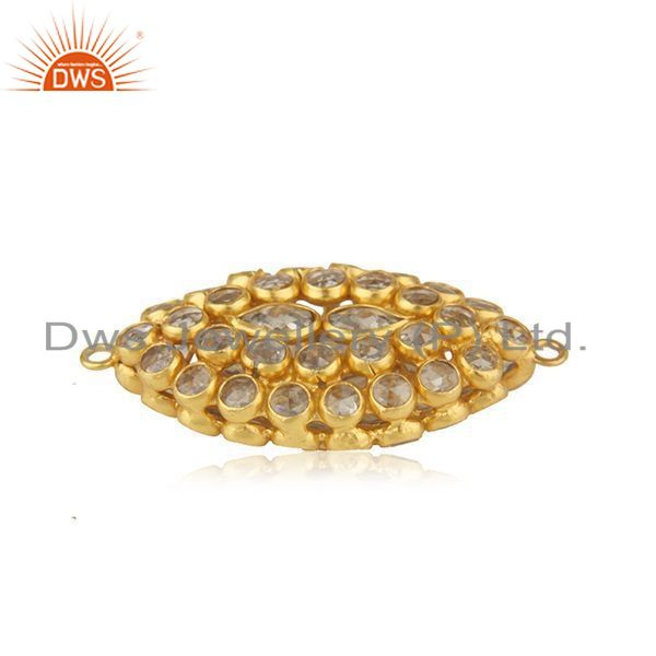 92.5 silver gold plated white zircon jewelry findings manufacturer from jaipur
