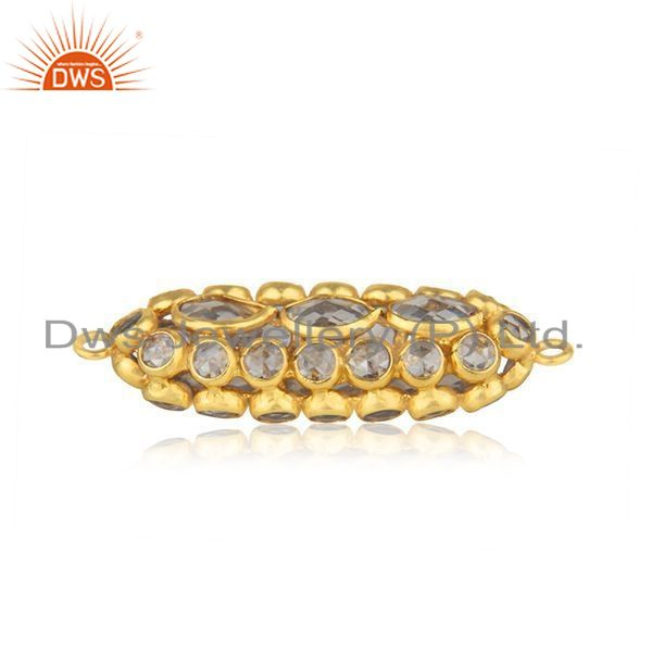 Sterling silver white zircon gold plated jewellery findings manufacturer india
