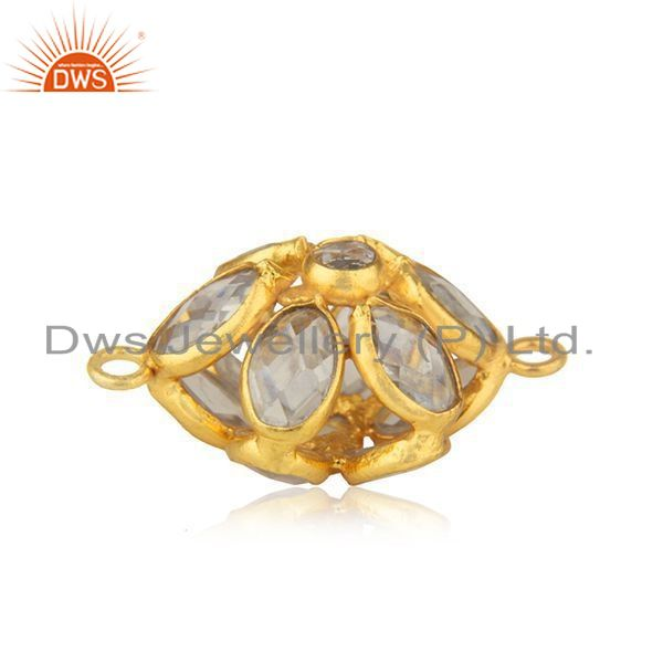 Handmade 925 silver gold plated white zircon connector jewelry findings supplier