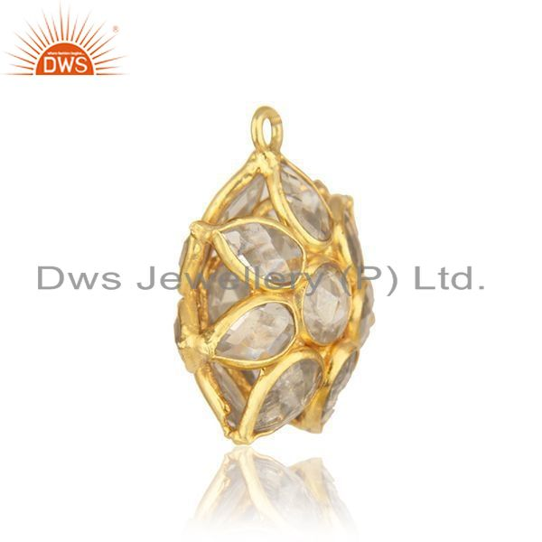 92.5 sterling silver gold plated white zircon jewelry findings pendant wholesale