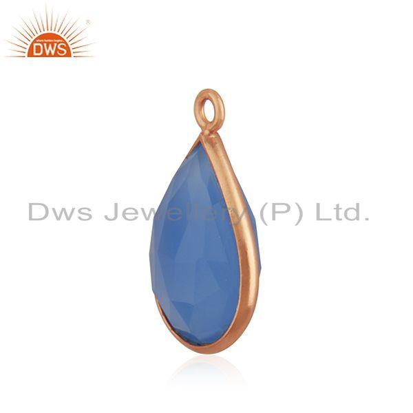 Blue chalcedony gemstone rose gold plated charm findings manufacturer india