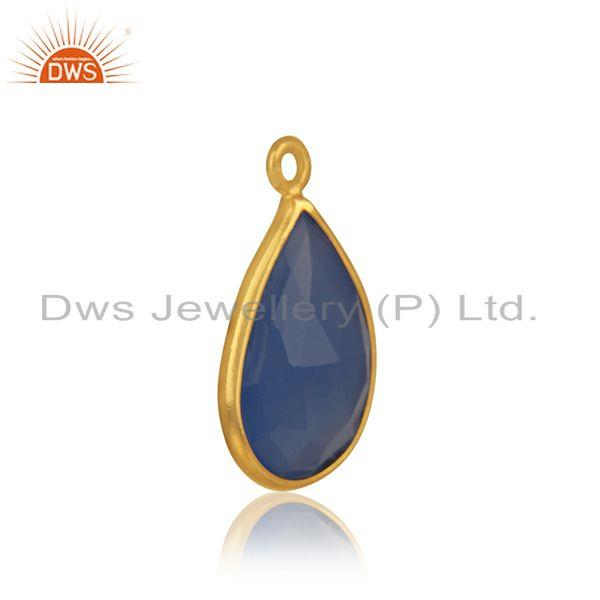 Natural blue chalcedony gemstone silver gold plated connector jewelry finding