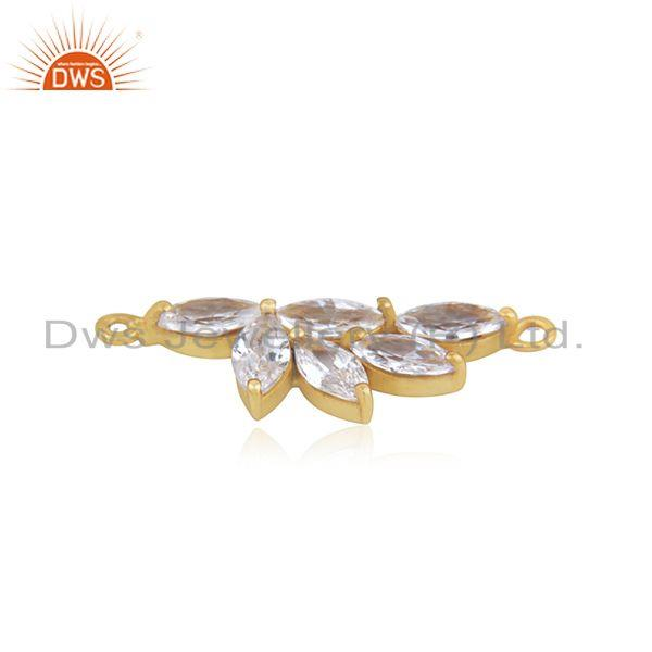 Designer cz gemstone brass fashion connector jewelry finding