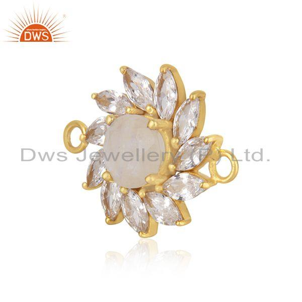Floral gold plated 925 silver cz gemstone connector jewelry supplier