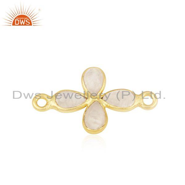 Rainbow moonstone gold plated brass connector fashion jewelry findings