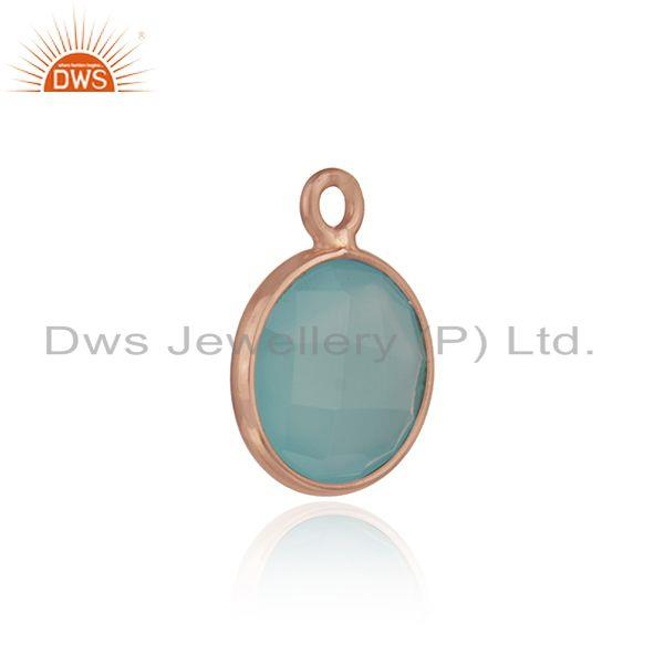 Aqua chalcedony gemstone rose gold plated 925 silver jewelry findings