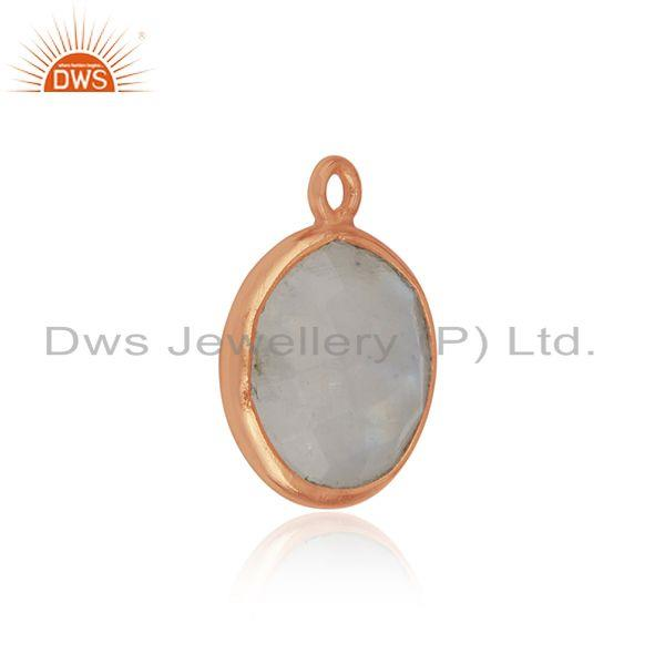 Rose gold plated 925 silver rainbow moonstone jewelry findings