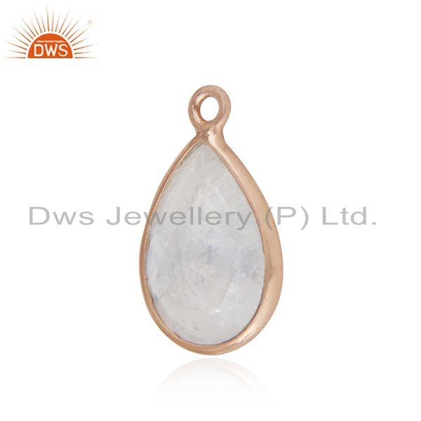 Rainbow moonstone rose gold plated sterling silver jewelry findings