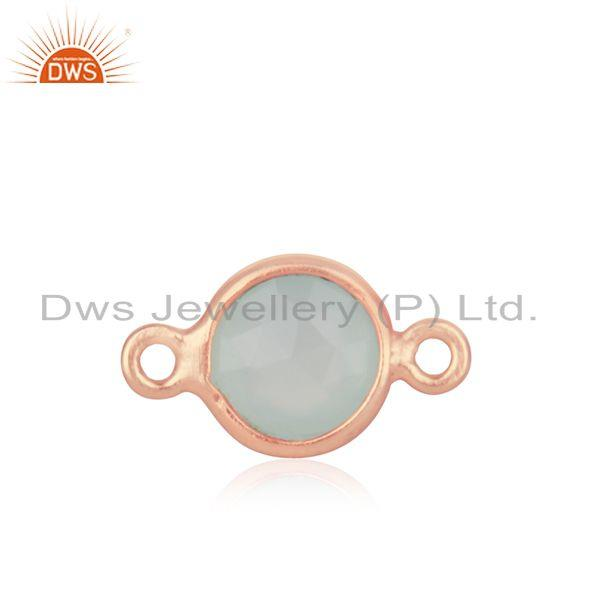 Exporter Rose Gold Plated 925 Silver Chalcedony Gemstone Connector Findings