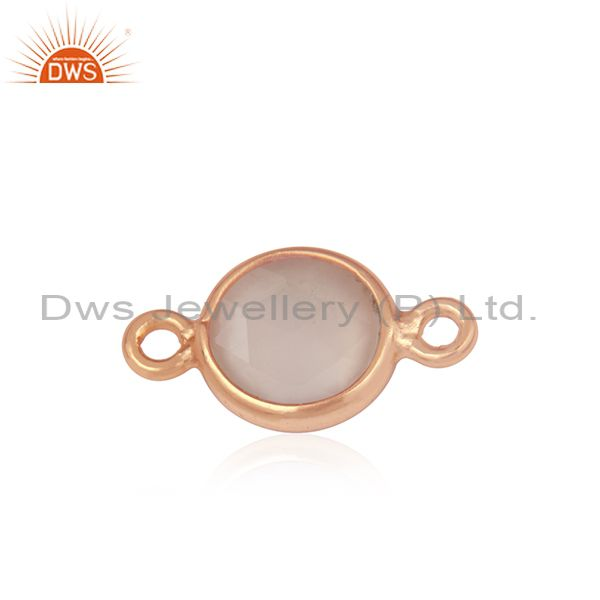 Exporter Rose Gold Plated Sterling Silver Gemstone Connector Jewelry Finding