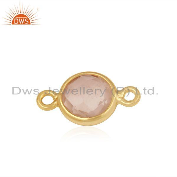 Exporter Chalcedony Gemstone Gold Plated 925 Silver Connector Wholesale