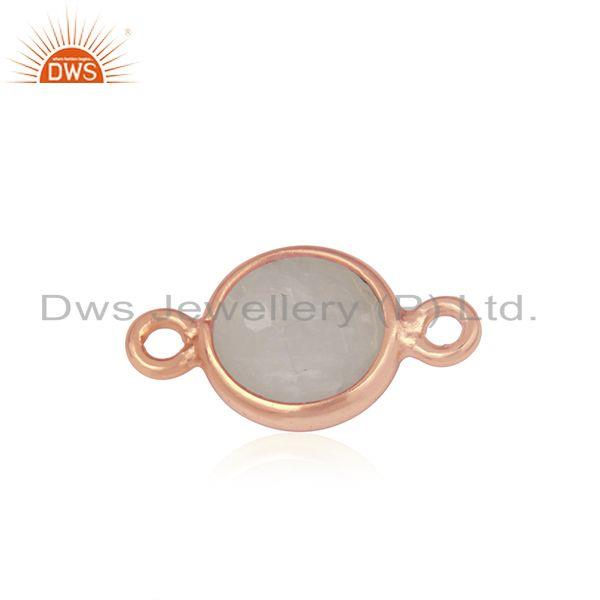 Exporter Rainbow Moonstone Rose Gold Plated Silver Connector Manufacturer