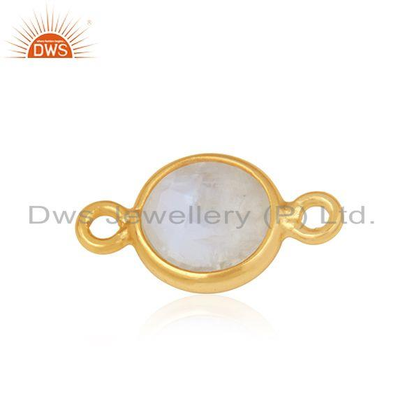 Exporter Rainbow Moonstone Gold Plated 925 Silver Connector Jewelry Finding
