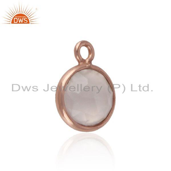 Trendy rose quartz charm in sterling silver rose goled plating