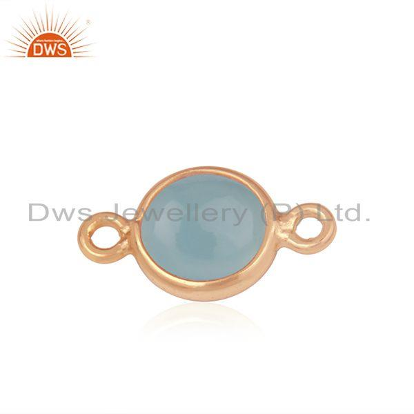 Exporter Chalcedony Gemstone Rose Gold Plated 925 Silver Connector