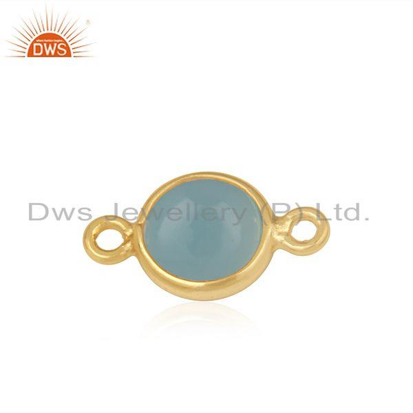 Exporter Gold Plated Sterling Silver Chalcedony Gemstone Connector