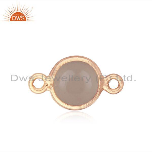Exporter Gold Plated 925 Silver Rose Chalcedony Gemstone Connectors