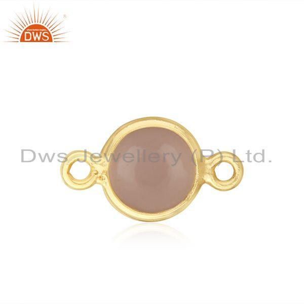 Exporter Rose Chalcedony Gemstone Gold Plated 925 Silver Connector Supplier