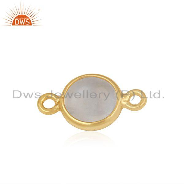Exporter Gold Plated Sterling Silver Rainbow Moonstone Connector Wholesaler