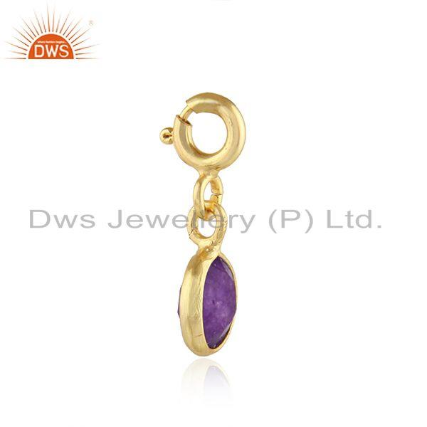 Exporter Purple Aventurine Gemstone Gold Plated Pendant Connect Findings