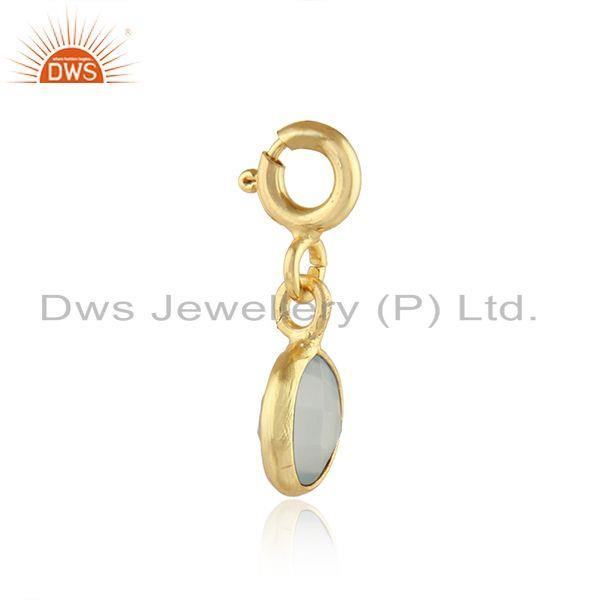 Exporter Aqua Chalcedony Gemstone Gold Plated 92.5 Silver Pendant Findings