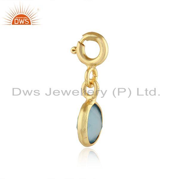 Exporter Designer Gold Plated Silver Blue Chalcedony Gemstone Findings