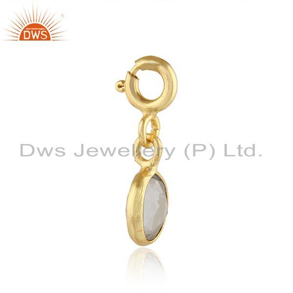 Exporter Crystal Quartz Gemstone Gold Plated 925 Silver Pendant Findings