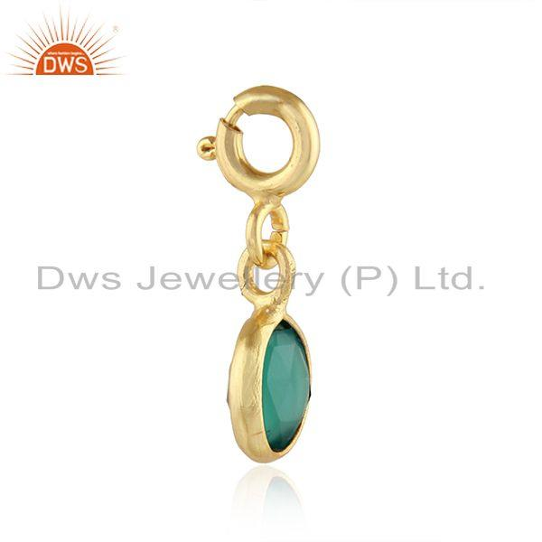 Exporter Green Onyx Gemstone Gold Plated Silver Pendant Charm Findings