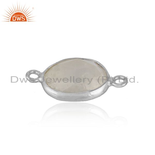 Jewelry connector in solid silver 925 with rainbow moonstone