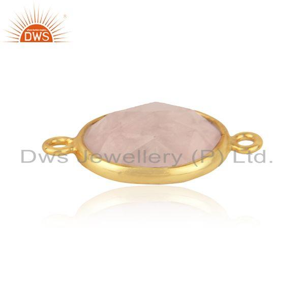 Connector in 18k yellow gold on silver 925 with rose quartz