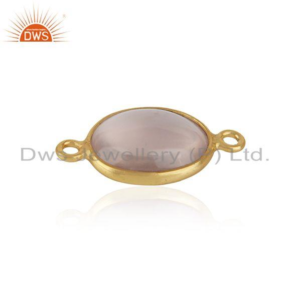 Jewelry connector in yellow gold over silver 925 and rose quartz