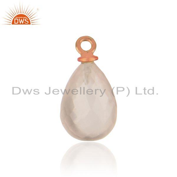 Handmade rose quartz jewelry charm in rose gold over silver 925