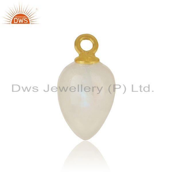 Natural rainbow moonstone charm in yellow gold over silver 925