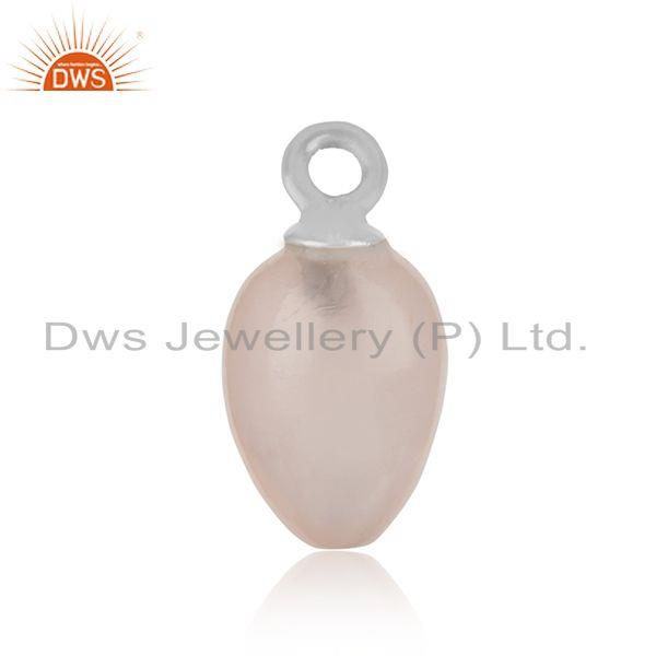 Natural rose quartz handcrafted charm in fine silver 925