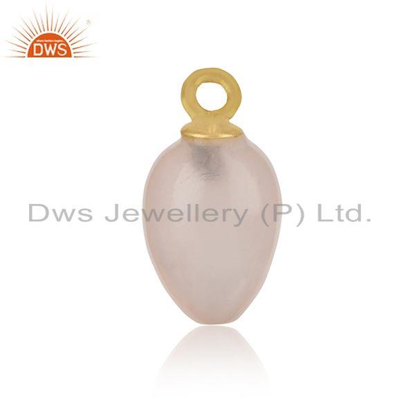 Handcrafted rose quartz charm in yellow gold over silver 925